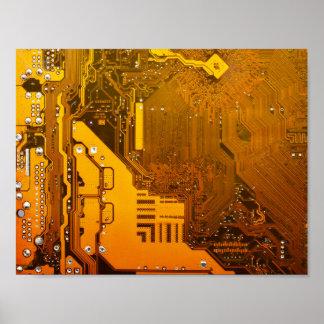 gelbe Schaltungsbrett-Computer-Chip-Motte Poster