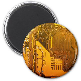 gelbe Schaltungsbrett-Computer-Chip-Motte Runder Magnet 5,7 Cm