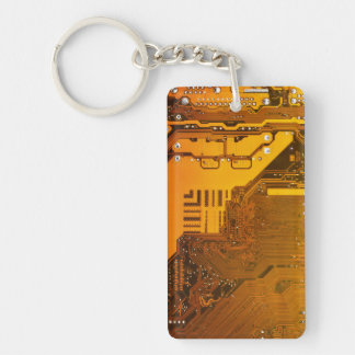 gelbe Schaltungsbrett-Computer-Chip-Motte Schlüsselanhänger