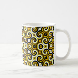 Gelbe Schwarz-weiße Wellen groß Kaffeetasse