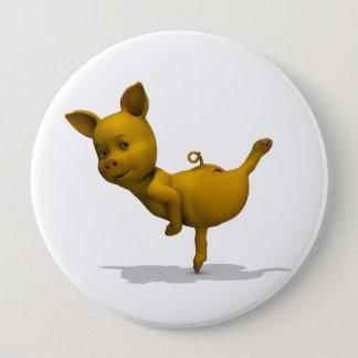 Gelbe Schwein-Arabeske Runder Button 10,2 Cm