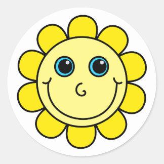 Gelbe Smiley-Blume Runder Aufkleber