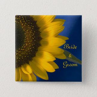 Gelbe Sonnenblume auf blauer Hochzeit Quadratischer Button 5,1 Cm
