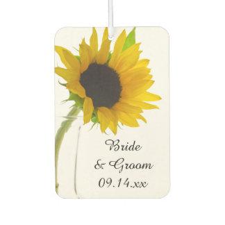Gelbe Sonnenblume auf weißer Gastgeschenk Hochzeit Lufterfrischer