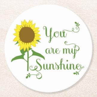 Gelbe Sonnenblume-Blumen-Liebe-Zitat-mit Runder Pappuntersetzer