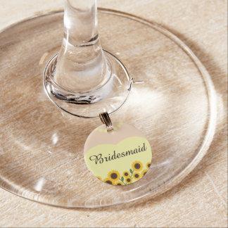 Gelbe Sonnenblume-Brautjungfern-Hochzeit Glasmarker