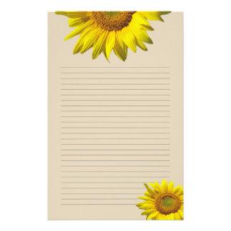 Gelbe Sonnenblume gezeichnetes persönliches Briefpapier
