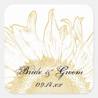 Gelbe Sonnenblume-grafischer Hochzeits-Umschlag Quadratischer Aufkleber