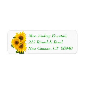Gelbe Sonnenblume-Grün-Blumen-mit Blumenadresse Rückversand-Adressaufkleber