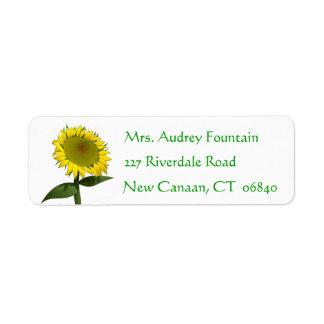 Gelbe Sonnenblume-Grün-mit BlumenBlume Rücksende Aufkleber