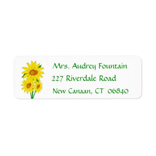 Gelbe Sonnenblume-Grün-mit BlumenBlume Rücksendeetiketten