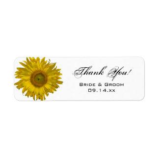 Gelbe Sonnenblume-Hochzeit danken Ihnen, Umbau zu Rücksendeetikett