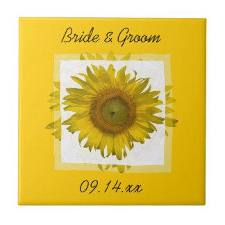 Gelbe Sonnenblume-Hochzeits-Fliese Kleine Quadratische Fliese