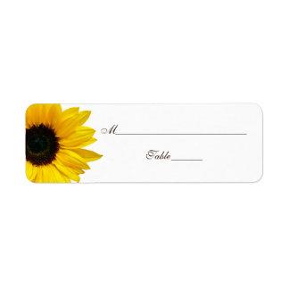 Gelbe Sonnenblume-Hochzeits-Platzkarte-Aufkleber Rücksendeetiketten