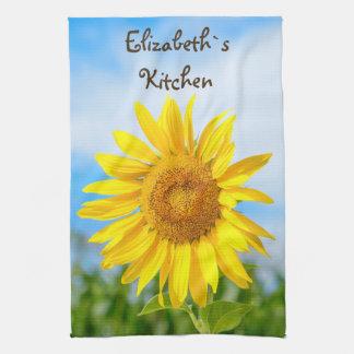 Gelbe Sonnenblume-personalisierter Name Handtuch