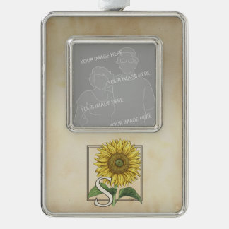 Gelbe Sonnenblume-personalisiertes Monogramm Rahmen-Ornament Silber