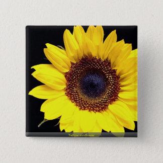 Gelbe Sonnenblume Quadratischer Button 5,1 Cm