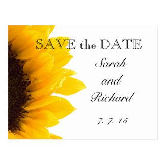 Gelbe Sonnenblume-Save the Date Postkarte