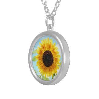 Gelbe Sonnenblume, sind Sie mein Sonnenschein, Versilberte Kette