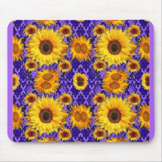 Gelbe Sonnenblumen auf Amethyst Farbgeschenken Mousepad