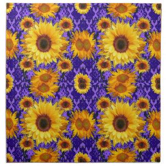 Gelbe Sonnenblumen auf Amethyst Farbgeschenken Stoffserviette
