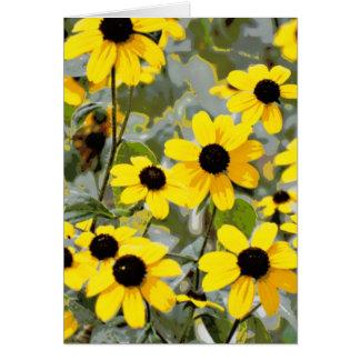 Gelbe Sonnenschein-Wildblumen-Blumen Karte