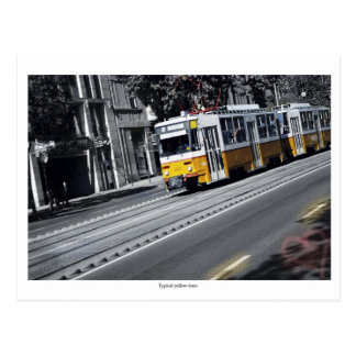 Gelbe Tram in Budapest Postkarte