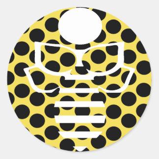 Gelbe Tupfen-Biene Runder Aufkleber