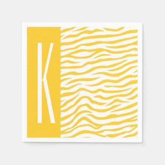 Gelbe u. weiße Zebra-Streifen-Tierdruck Papierserviette
