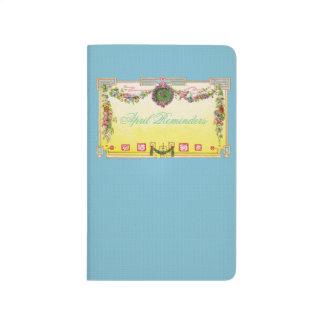 Gelbe und blaue antike französische Zeitschrift Taschennotizbuch