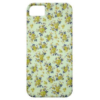 Gelbe und blaue Fünfzigerjahre mit Blumen iPhone 5 Hülle