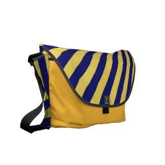 Gelbe und blaue Funky gestreifte abstrakte Kunst Kurier Taschen