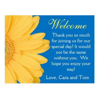 Gelbe und blaue Gerber Postkarte