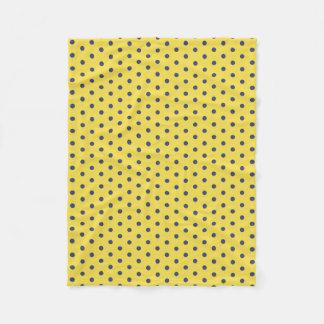 Gelbe und blaue Polka-Punkt-Fleece-Decke Fleecedecke
