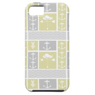 Gelbe und graue Anker-Fisch-nautischWetterfahne iPhone 5 Etuis