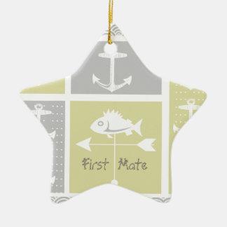 Gelbe und graue Anker-Fisch-nautischWetterfahne Keramik Ornament