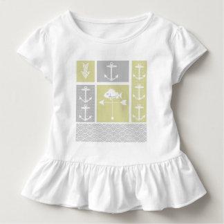 Gelbe und graue Anker-Fisch-nautischWetterfahne Kleinkind T-shirt