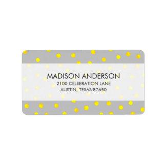 Gelbe und graue Confetti-Punkte Adressaufkleber