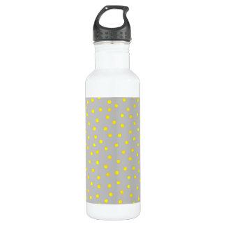 Gelbe und graue Confetti-Punkte Edelstahlflasche