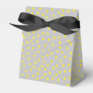 Gelbe und graue Confetti-Punkte Geschenkschachtel