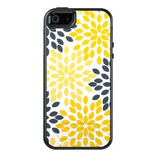 Gelbe und graue Holzkohlen-modernes Blumen OtterBox iPhone 5/5s/SE Hülle
