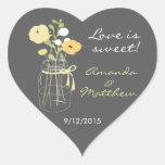 Gelbe und graue Maurer-Glas-Gastgeschenk Hochzeits