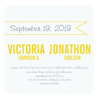 Gelbe und graue moderne Typografie-Hochzeit Einladung