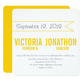 Gelbe und graue moderne Typografie-Hochzeit Karte