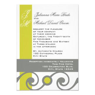 Gelbe und graue Rolle-Arbeit 11,4 X 15,9 Cm Einladungskarte