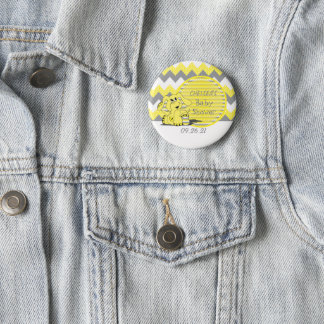 Gelbe und graue Zickzack Elefant-Baby-Dusche Runder Button 5,7 Cm