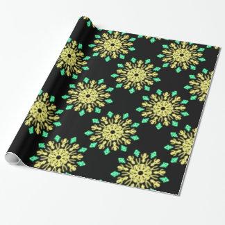 Gelbe und grüne NeonBlume Geschenkpapier