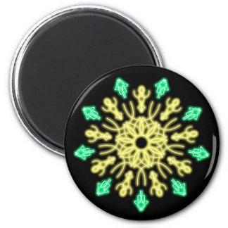 Gelbe und grüne NeonBlume Runder Magnet 5,7 Cm