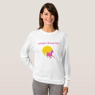 Gelbe und rosa Pferdedamen Sleeved lang Shirt