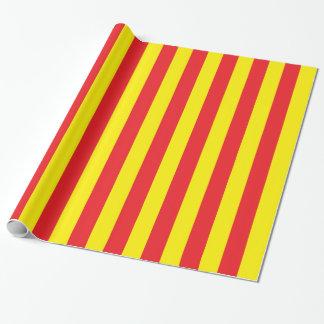 Gelbe und rote vertikale Streifen Geschenkpapier